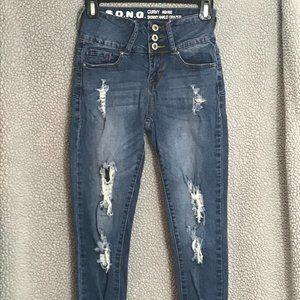 S.O.N.G. Distressed Curvy Skinny Jeans